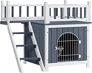 Tangkula Pet Dog House, Outdoor & Indoor Dog/Cat Wooden Puppy House Room with a View, Pet Room with Stairs, Raised Roof and Balcony Bed for Puppies and Dogs, Wooden Dog House
