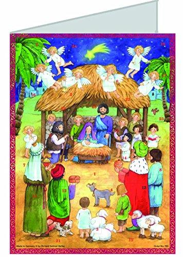 °°2729 Grußkarte KRIPPE mit Adventskalender, Kindermotiv Krippe/Figuren, DIN A 6 mit Briefumschlag