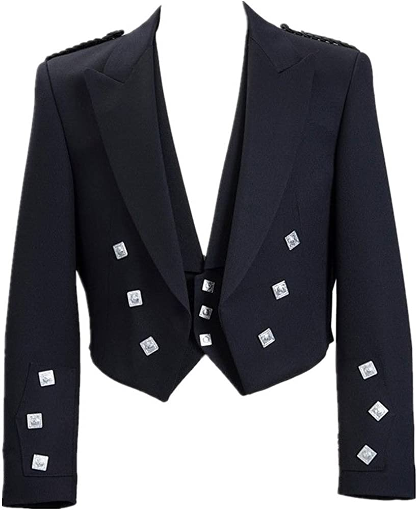 Lucasini Mens Scottish Prince Charlie Kilt Jacket with Vest