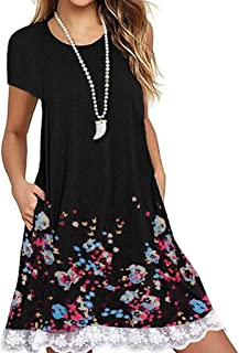 efc0e6eaa6d Summer Dresses for Women O Neck Casual Floral Print Pockets Lace Short  Sleeve Mini Dress Loose