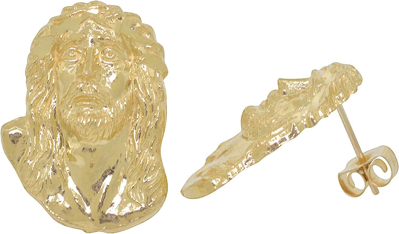 Men's Yellow 10k Gold Diamond Cut Style Jesus Christ Stud Earrings