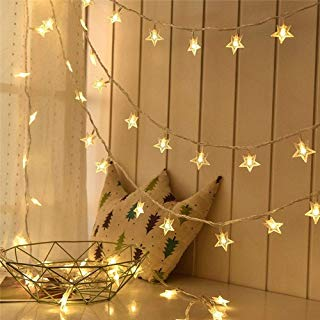 Lyhope Star String Lights, Low Voltage Twinkle Star Fairy Christmas Lights 100 LED 42.8ft Waterproof 29V UL Certified Adapter for Indoor & Outdoor, Party, Wedding and Holiday Decorations (Warm White)