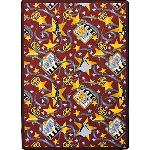 Joy Carpets Any Day Matinee Silver Screen Theater Area Rugs, 64-Inch by 92-Inch by 0.36-Inch, Burgundy
