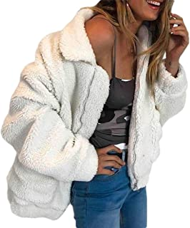 Women Winter Jacket Faux Shearling Wool Warm Lapel Zip Up Jacket