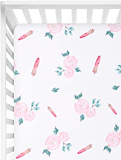 "TILLYOU Microfiber Floral Crib Sheet for Girls, Silky Soft Flower Toddler Sheets Printed, Cozy Hypoallergenic Baby Sheets for Standard Crib and Toddler Mattress, 28"" x 52"" – Rose Feather"