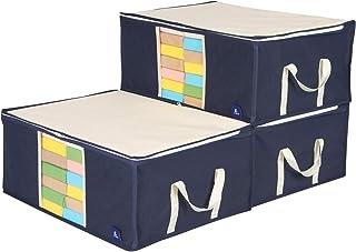 アストロ 収納ケース 3個組 衣類用 ネイビー 不織布 活性炭 消臭 透明窓 持ち手付き 615-24 ネイビー×アイボリー 中