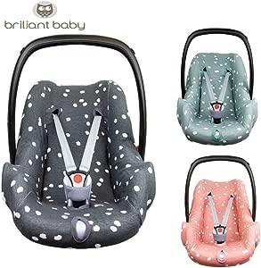 BriljantBaby BabyFit Spots Universal Protective Cover 100  Cotton Interlock Jersey for Baby Car Seats  e g  Maxi COSI CabrioFix  Citi  Pebble etc