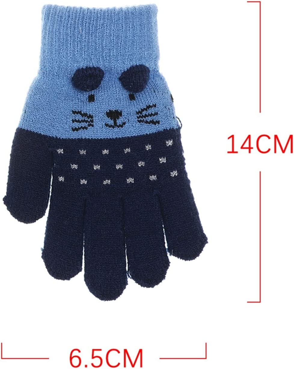 GUYANMAY Gloves New Cute Cartoon Cat Gloves Winter Thick Knitting Kids Newborn Mittens Kids Keep Finger Warm Gloves for 0-3 Years Old Warm (Farbe : 03)