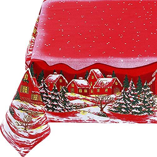 KUTEX Esclusiva Tovaglia di Natale Rettangolare in Cotone Naturale - Tovaglia da tavola Moderna Rettangolare in 100% Cotone con Stampa Eco-Friendly Disegno Paesaggio Natalizio 140 x 180 cm