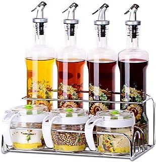 SMEJS Ensemble Distributeur d'huile d'olive, 4 Bouteilles d'huile, Bouteille d'huile d'olive et Bouteille de vinaigre en V...