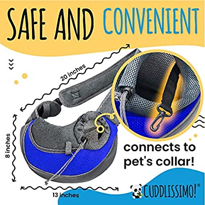 Cuddlissimo! Pet Sling Carrier - Small Dog Puppy Cat Carrying Bag Purse Pouch - For Pooch Doggy Doggie Yorkie Chihuahua Baby Papoose Bjorn - Travel Front Backpack Chest Body Holder Pack To Wear (Blue) 2