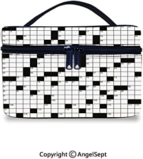 Fashion Travel Makeup Case,Classical Crossword Puzzle with Black and White Boxes and Numbers Decorative Black and White,10x7x6inches,Cosmetic Case Organizer Portable