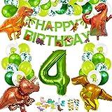 Decoracion Cumpleaños Dinosaurios, Globos de Cumpleaños Dinosaurios, Globo Numero 4 Verde, Globos Dinosaurios, Globos Grandes Gigantes Helio, Globos de Cumpleaños 4 Años