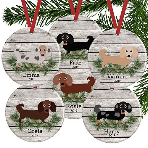 Unique Long Haired Dachshund Ornament, Personalized Doxie, Customized Name and Date Porcelain Ceramic Ornament
