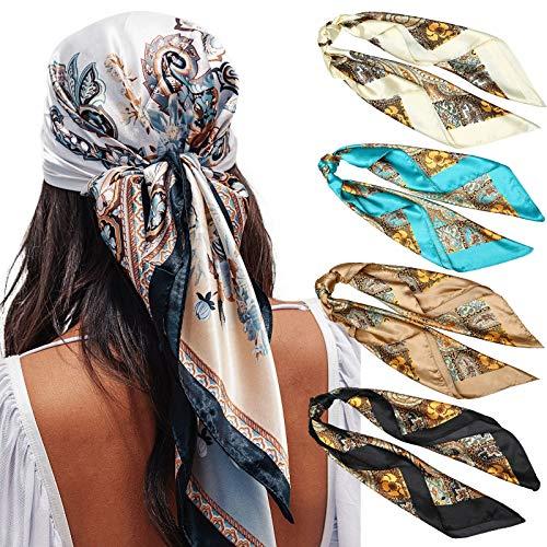 "35"" Satin Large Square Head Scarves - 4PCS Silk Like Neck Scarf Hair Sleeping Wraps Lightweight Satin Silk Scarfs for Women (Cashew(Black/Blue/Camel/Beige))"