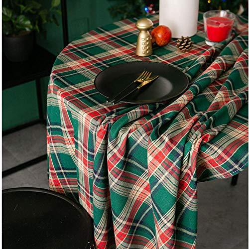 WATCBQ Nappe Ronde De Noël Nordique À Carreaux Café Coton Couverture De Table en Tissu pour Cuisine Table À Manger Couvre Partie De Table-B_150Cm De Diamètre
