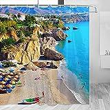 Balcón europeo de España, Nerja cortina de ducha de viaje baño decoración conjunto con ganchos poliéster 72x72 pulgadas (YL-05310)