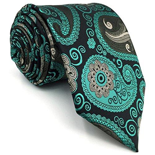 shlax&wing S&W Krawatte Herren Krawatte Negro y Verde Dark Teal Cachemir Extra Lang 160cm