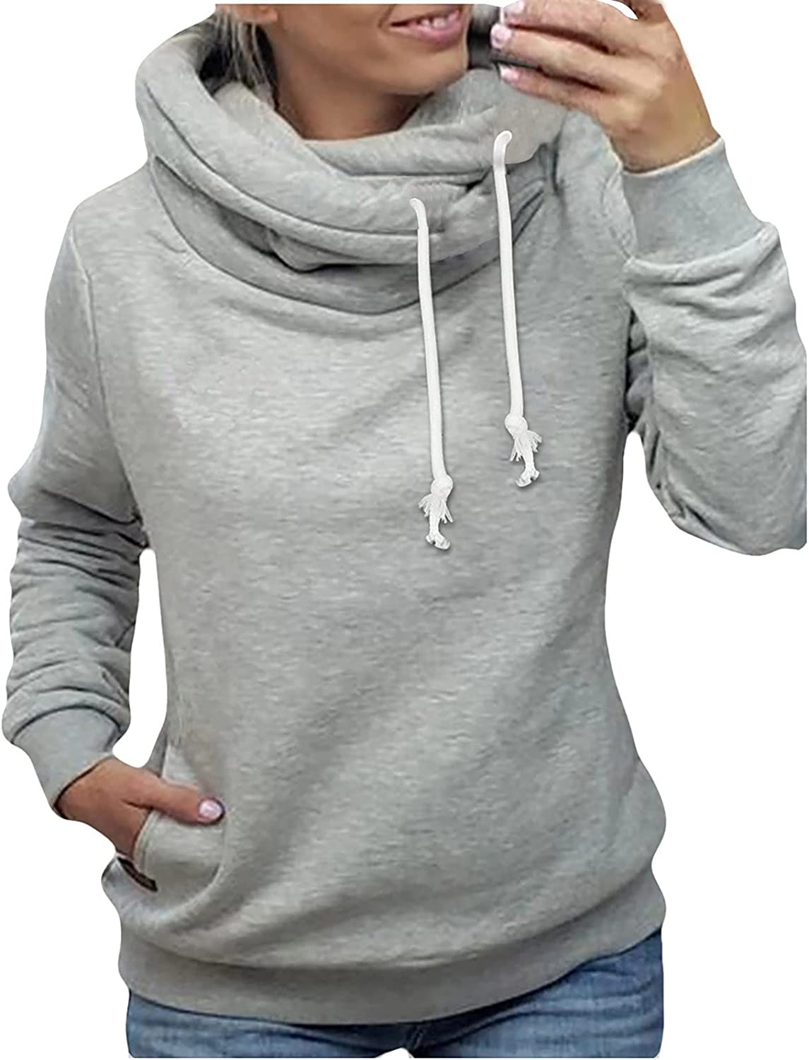 Pullover Sweatshirts for Women Plus Size Solid Turtleneck Long Sleeve Drawstring Comfy Casual Top With Pockets Slim Fit