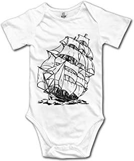 Unisex Baby's A Pirate Boat Bodysuits Romper Short Sleeved Onesies