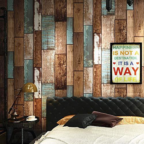 Friso Para Pared 3D estéreo imitación de madera de papel de pared de bloques for el dormitorio del restaurante tienda retro decoración de la pared del vinilo del PVC impermeable del papel pintado roll