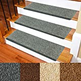 """Carpet Stair Treads – Non-Slip Bullnose Carpet for Stairs – Indoor Stair Pads – Self-Adhesive & Easy Installation – Pet & Child Friendly – Skid Resistant & Washable – 14- Pack Grey 10' x 30'x 1.3"""""""