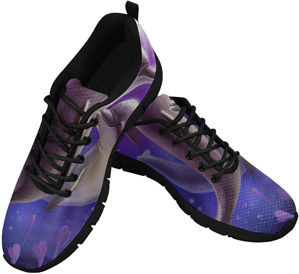 INTERESTPRINT Purple Lovers Dolphin Women's Breathable Comfort Mesh Fashion Sneakers