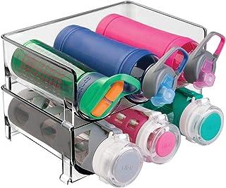mDesign Plastic Stackable Water Bottle Storage Organizer Rack Pack of 2 Smoke Gray