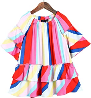 Hopscotch Peaches Girls Rayon Stripe Casual Dresses in Red Color
