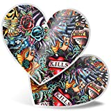 Impresionante pegatinas de corazón de 15 cm – Old School Tattoos Vintage Divertidas calcomanías para portátiles, tabletas, equipaje, libros de chatarras, neveras, regalo genial #2506