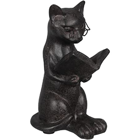 Happy Black Cat Playing With Tail Figurine Smiling  Statue *CAT LOVER GIFTS