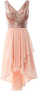 MACloth Women V Neck Sequin High Low Bridesmaid Dress Wedding Party Formal Gown