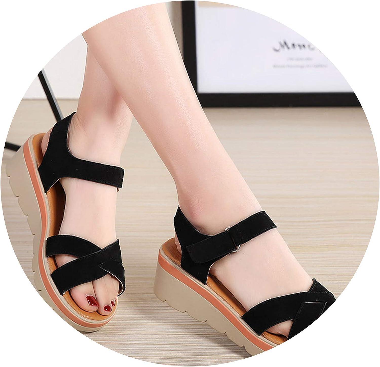 Sensitives New 2019 Summer Women Sandals Comfortable Suede Leather Flat Sandals Lady shoes Woman Sandalias
