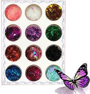 Kalolary 12 Kleuren 3D Vlinder Holografische Nagel Glitter Pailletten voor Nagels Glanzend Laser Nagelkunst Glittertips Ac...
