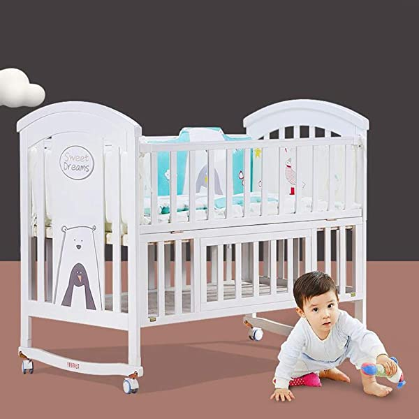 XY Crib Furniture Solid Pine Wood Crib Baby Cot Bed Frame For Toddler Kids Cradle Child Bed Size L
