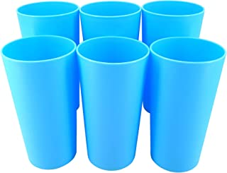 Sponsored Ad - Premium 26-ounce Plastic Tumblers Reusable Dishwasher Safe Microwaveable Blue Color Cups Set of 6 Indoor Ou...