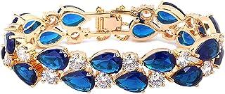 Fashion Lady 18K Gold Plated Elegant Luxurious Glisten Diamonds Bangle Crystal Charm Bracelet Blue