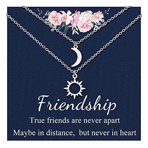 Bester Freunde Freundschaft Kette für Damen Sonne und Mond Ketten Halskette für 2 Passende Anhänger Ketten Halsketten Schmuck Geschenk für Schwestern Beste Freundin Frauen Damen Mädchen