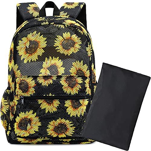 BLUBOON Women Girls Mesh Backpack School College Student Bookbags Semi -Transparent Waterproof...