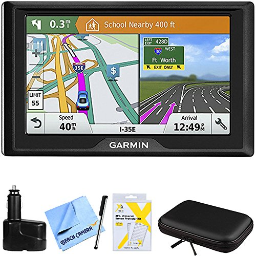 Garmin Drive 61 LMT-S GPS Navigator with Driver Alerts - USA (010-01679-0C) w/Accessories Bundle Includes, Dual 12V Car Charger, Hardshell Case for 7-Inch Tablets, Bamboo Stylus Mini + More