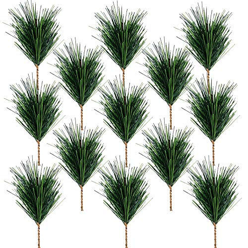 30 PCS Artificial Green Pine Needles Branches-Small Pine Twigs Stems Picks-Fake Greenery Pine Picks for Christmas Garland Wreath Embellishing and Home Holiday Garden Decoration