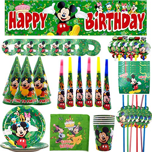 Set de Fiesta de cumpleaos de Mickey - YUESEN Mickey Mouse Party Decoration Set Platos Tazas Servilletas Pack de Fiesta reciclable Mickey Mantel Sirve para 6 Invitados 69PCS