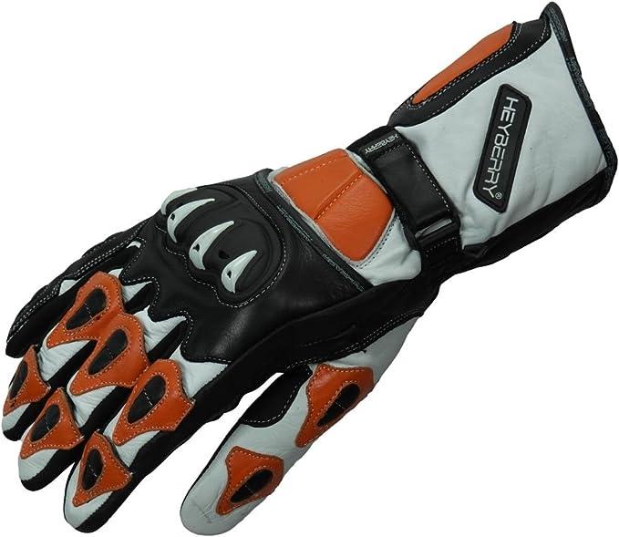 Heyberry Motorradhandschuhe Leder Motorrad Handschuhe Schwarz Weiß Orange Gr M Auto