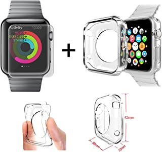 Xtra-Funky Range Apple 42mm iWatch Soft Shockproof TPU Clear Slim Protective Case and Tempered Glass Screen Protector Combo Pack.