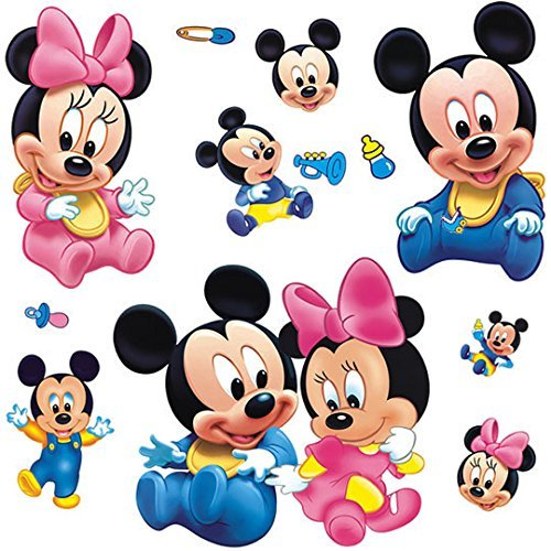 Wall Sticker Decal Mickey and Minnie Mouse Kids Room Decor Mural Nursery Daycare and Kindergarten DIY Self Adhesive Removable 9x17 Inch