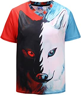 Men's 3D Printed Wolf Pattern Short Sleeve Youth & Adult T-Shirt