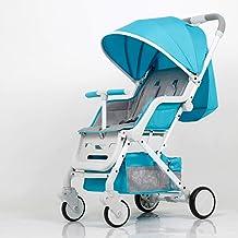 Sillas de paseo Una mano plegable cochecito de bebé 0-3 años de edad Ultraligero portátil paraguas sillones desmontable bebé carro Sillas ligeras (Color : Blue)