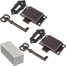 2 stuks kastdeursloten, antiek kastslot, decoratief meubelslot met sleutel, slotset voor kasten, deur, antieke sieraden, m...