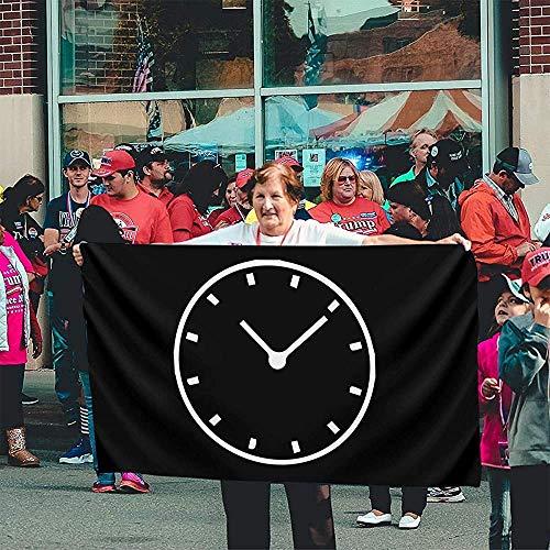 fingww Home Flag Uhr Clip Art Hinterhof 150X90Cm Gartenflagge Dekorative Yard Banner Lebendige Yard Flag Outdoor Feiertage Drucken Willkommen