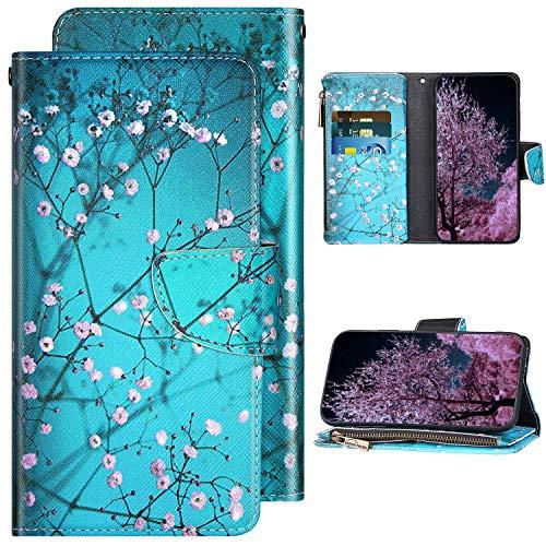 Kompatibel mit Samsung Galaxy A40 Handyhülle Leder Handy Tasche Glänzend Schutzhülle Magnet Flip Case Brieftasche Klapphülle Leder Hülle Gemalt Muster mit Kartenfächer,Pflaumenblüte